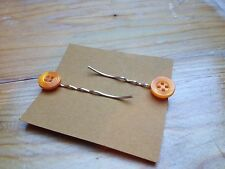 Cute Handmade Vintage Button Hair Slides/Kitsch/Plastic/Retro/Orange