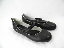 LACOSTE Irina Black Leather Athletic Inspired Mary Jane Flat Shoes Skimmers 8.5