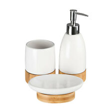3 Piece White Bamboo Base Bathroom Accessory Set Tumbler, Soap Dish, Dispenser