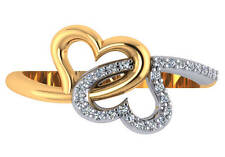 0.15 ct F VS natural round diamond double heart cocktail ring 18k 2 tone gold