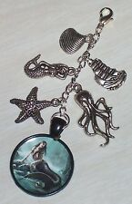 Mermaid Siren Purse-Bag Charm -Altered Art- Handmade Clip Zipper Pull