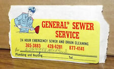 """Vintage 1970s General Sewer Service Contact Info Sticker Decal 4.5"""" x 3"""" Rare!"""