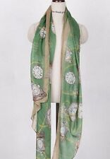 US Woman Green Clock Stole Soft Cotton Voile Scarf Wrap long shawl Large Fashion
