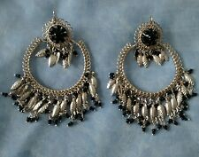 """VINTAGE 00'S Topshop """"Freedom"""" Silver/Black Indian Style Statement Earrings VGC"""