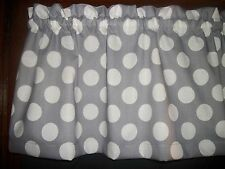Gray Big Polka Dots Retro kitchen topper curtain fabric Valance