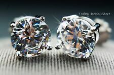 2 ct round cut screwback basket stud earrings solid real 14K WHITE GOLD