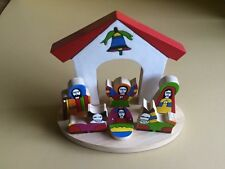 "Wooden Nativity set 6"" El Salvador, hand made. Holy Family, Nativity scene"