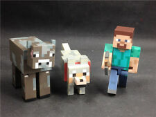 3x MINECRAFT Overworld Wolf Cow Steve loose hot item TM
