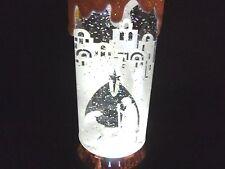 "Hallmark Bag 11"" TALL Nativity Scene Candle Motorized Snow Globe Silver Base NEW"