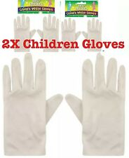 Child White Short Gloves Magician Gloves Kids Unisex Uk Lot 2x Gloves
