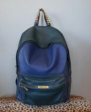 SOPHIE HULME Navy Blue & Green Leather Rucksack Backpack $950