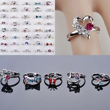 NT 20pcs Wholesale Mix many CZ Crystal Children Kids Silver  Adjustable Rings