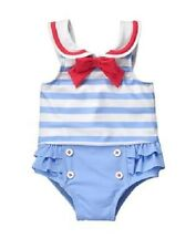 Gymboree Light Blue One-Piece Sailor Swimsuit Infant Baby Girl 0-3 Months NEW
