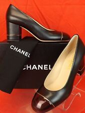 16B NIB CHANEL BLACK LEATHER CC LOGO BURGUNDY PATENT CAP TOE PUMPS 41