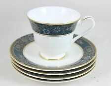 4 SETS CUPS & SAUCERS VINTAGE ROYAL DOULTON BONE CHINA CARLYLE H5018 GOLD TEAL
