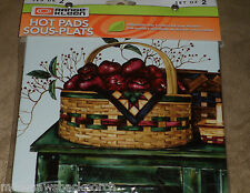 Apple Apples Berries Basket Collection COUNTER Stove MAT HOT PAD TRIVET SET NIP