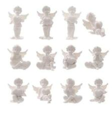 NEW SET OF 12 RESIN WHITE ANGEL CHERUB FIGURES 6cm ORNAMENTS WS135