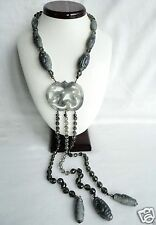 C 1970s Giorgio Armani Chinese Export Faux Charcoal Jade Necklace Lavaliere