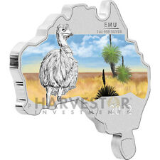 2012 AUSTRALIAN MAP SHAPED COIN - EMU - SILVER PROOF - ONLY 6000 - W/ OGP & COA