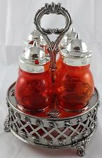 Victorian Style 4 Pc Ruby Red Amberina Glass Castor Set with Metal Display Rack