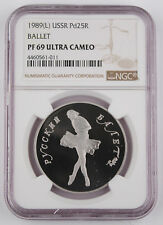 Russia USSR Ballerina/Ballet 1989 1 Oz Palladium Proof 25 Rouble Coin NGC PF69