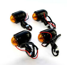 4x Mini Black Bullet Turn Sigal Light Indicator Full Metal Housing 2 Wires