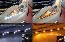 2x LED Tear Eye Headlight Flexible Strip DRL Light White Amber Turn Signal Lamp