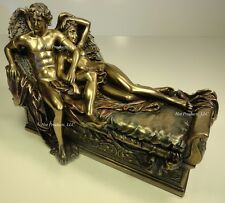 CUPID & PSYCHE ON BED Male Female Lovers Nude Statue Sculpture *Cold Cast Bronze