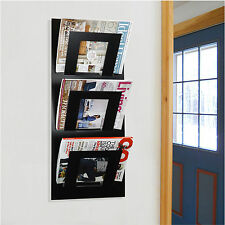 Designer Wall Mounted Magazine Rack Black - by The Metal House