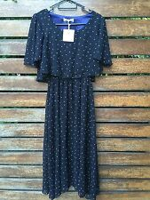 New Women Lady Black Polka Dots Chiffon Beach Maxi Long dress AUS 8