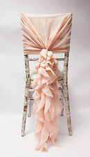 CHIFFON HOODS WITH RUFFLES 15 COLOURS DECOR CHAIR COVER WEDDING SPECIAL EVENTS
