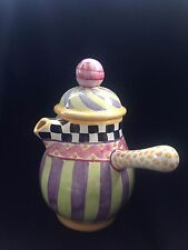 Mackenzie Childs Pottery Piccadilly CHOCOLATE Coffeepot Tea pot VINTAGE & RARE