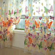 Floral Butterfly Curtains Sheers Voile Tulle Window Curtain 100x200cm