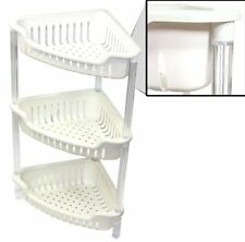 BRAND NEW 3 TIER PLASTIC CORNER SHELF STORAGE CADDY SHOWER ORGANISER TIDDY