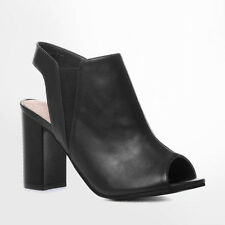 WOMENS LADIES MID BLOCK HEEL PEEP TOE CUT OUT ANKLE BOOTS SANDLS SHOES SIZE 3-8