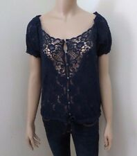NEW Abercrombie Womens Sheer Floral Lace Top Size Large Shirt Blouse Navy Blue