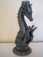 """1997 Gothic Dragon Candle Holder Pewter Finish Resin? 8.25"""" H Summit Collection"""