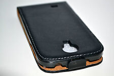 Black Genuine Leather Classic Slim Style Flip Case Cover For Samsung Galaxy S4