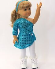 "Doll Clothes Fit AG 18"" Ice Skating Teal Tights Skates Fits American Girl Dolls"
