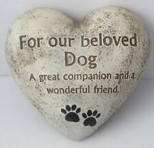 In Loving Memory Graveside Heart Plaque Stone - Beloved Dog Grave Memorial New