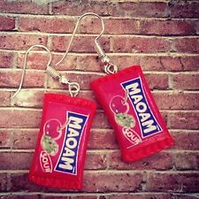Unique MAOAM EARRINGS handmade SOUR CHERRY dangly HARIBO mixed up dolly SWEETS