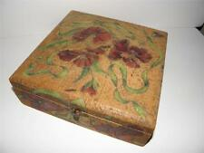 Gorgeous 1800s ANTIQUE Wood CARVED Flower KNICK KNACK Storage BOX  _ MINT!