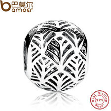 Solid Authentic S925 Sterling Silver Charms Tropicana Palm Leaf Fit Pa Bracelets