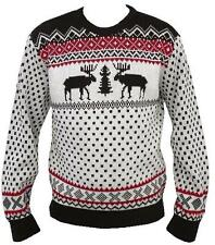 MENS LADIES KNITTED JUMPER SWEATER RETRO CHRISTMAS XMAS REINDEER SIZE BROWN XS