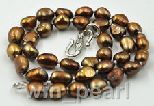 New 8-9mm chocolate brown baroque freshwater cultured pearl Necklace 17""