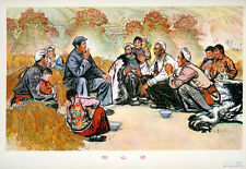 Original Vintage Poster Chinese Cultural Revolution Mao Smoking in Field 1974