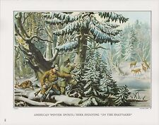 """1972 Vintage Currier & Ives """"HUNTING DEER o/t SHATTAGEE"""" COLOR Print Lithograph"""