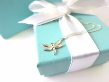 "RARE Tiffany & Co. Silver Nature Dragonfly Pendant 16"" Necklace w/ Box & Pouch"