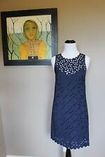 NWT J Crew Lace Cut Floral Shift Dress in Navy Sz 4 Small B8789 $168