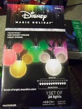 CHRISTMAS DISNEY MAGIC HOLIDAY COLOR WHIRL LED MICKEY MOUSE EARS 24 LIGHTS